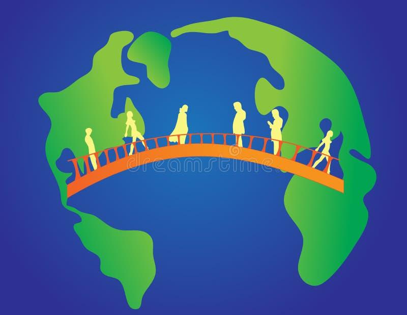 Ponte entre continentes ilustração stock
