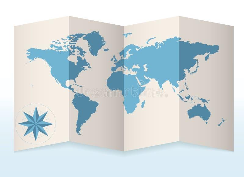 Mapa da terra no papel ilustração stock