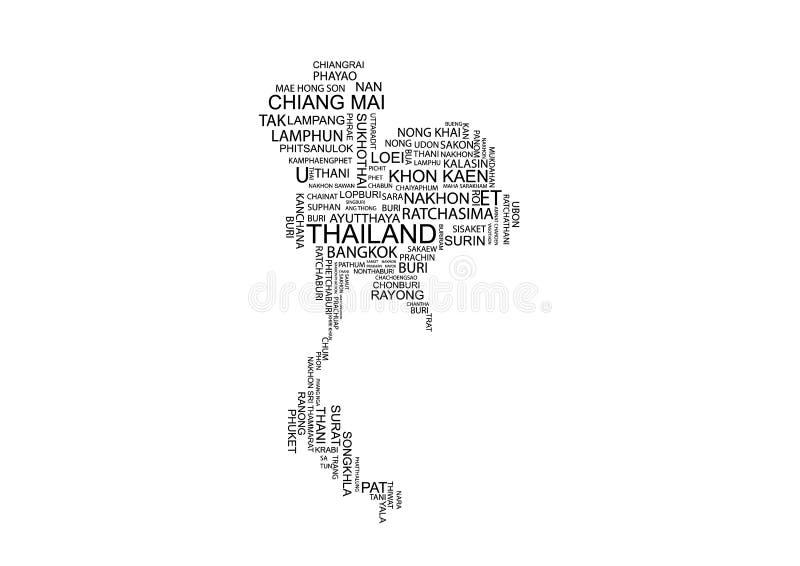 Mapa da tipografia de Tailândia fotografia de stock