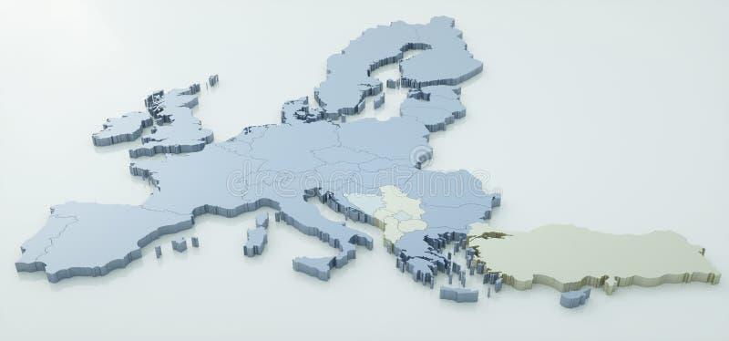 Mapa da União Europeia - detalhe muito alto - rendição 3d ilustração do vetor