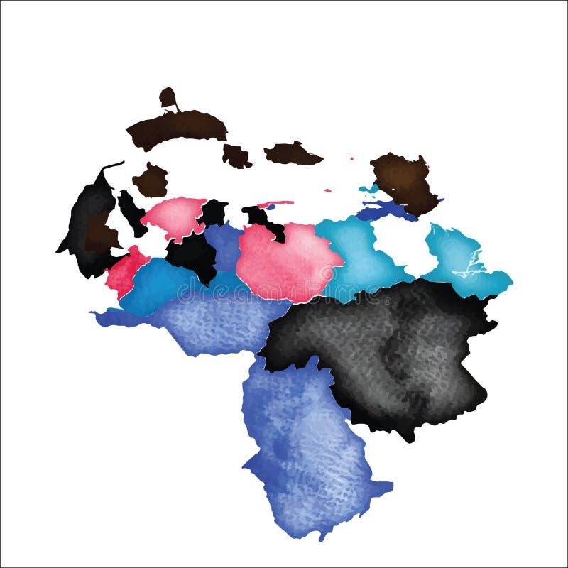 Mapa da Venezuela Venezuela colorida da aquarela ilustração do vetor
