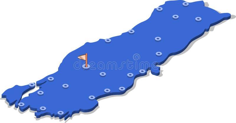 mapa da vista 3d isométrica de Turquia com superfície e cidades do azul ilustração stock