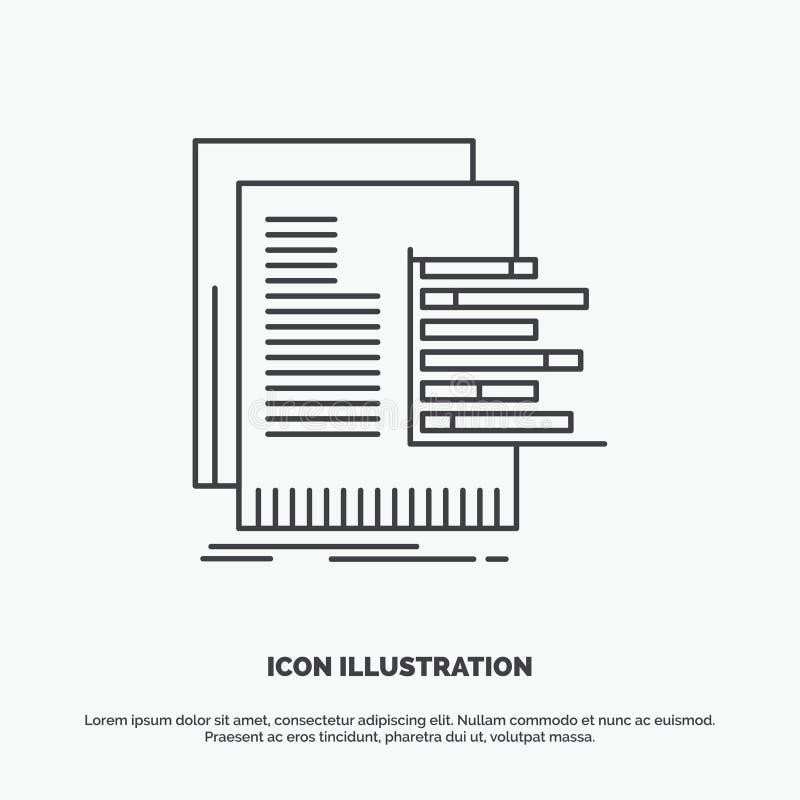 mapa, dane, wykres, raporty, otaksowanie ikona Kreskowy wektorowy szary symbol dla UI, UX, strona internetowa i wisz?cej ozdoby z royalty ilustracja