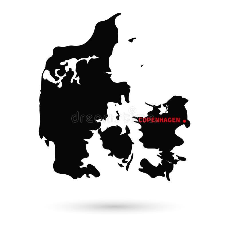 Mapa Dani czerń na białym tle royalty ilustracja