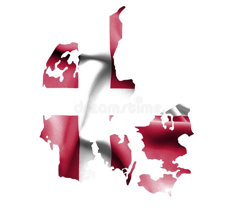 Mapa Dani z falowanie flagą odizolowywającą na bielu royalty ilustracja