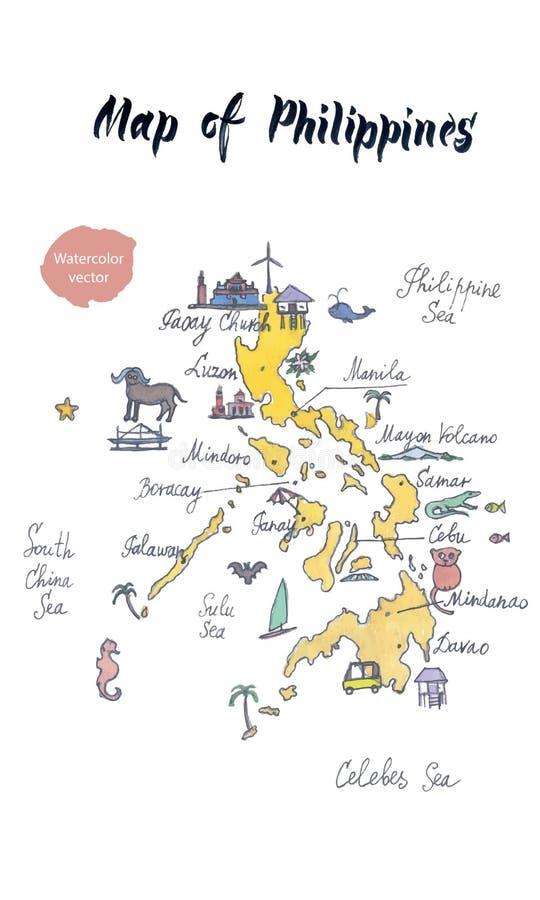 Mapa das atrações de Filipinas, mão tirada, ilustração da aquarela do vetor ilustração royalty free