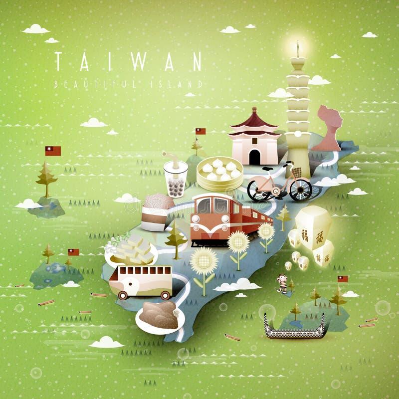 Mapa das atrações de Taiwan ilustração stock