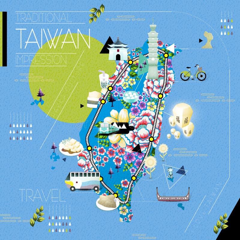 Mapa das atrações de Taiwan ilustração royalty free