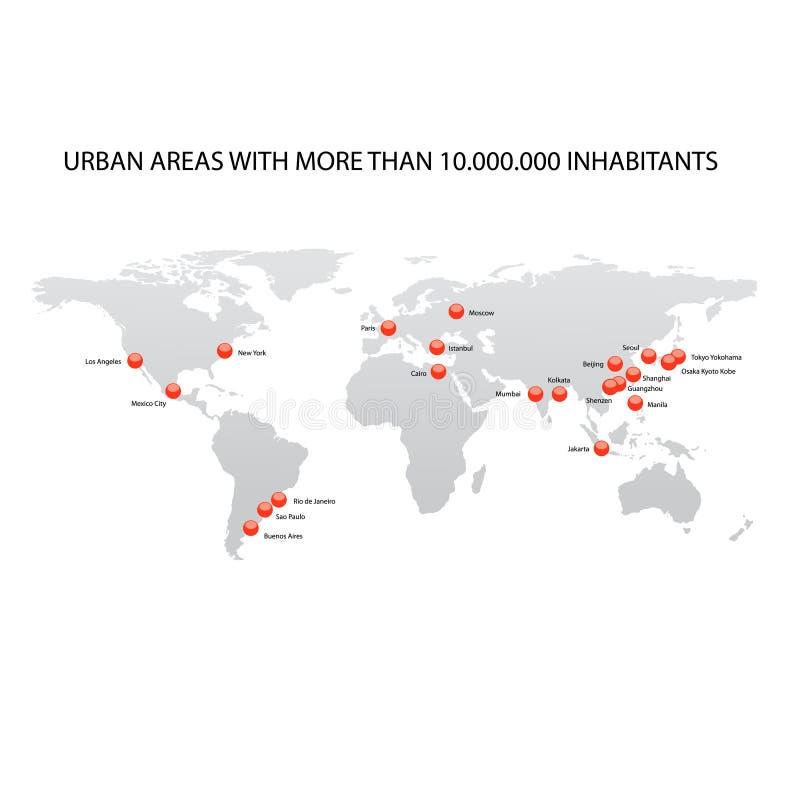Mapa das cidades as maiores do mundo ilustração stock