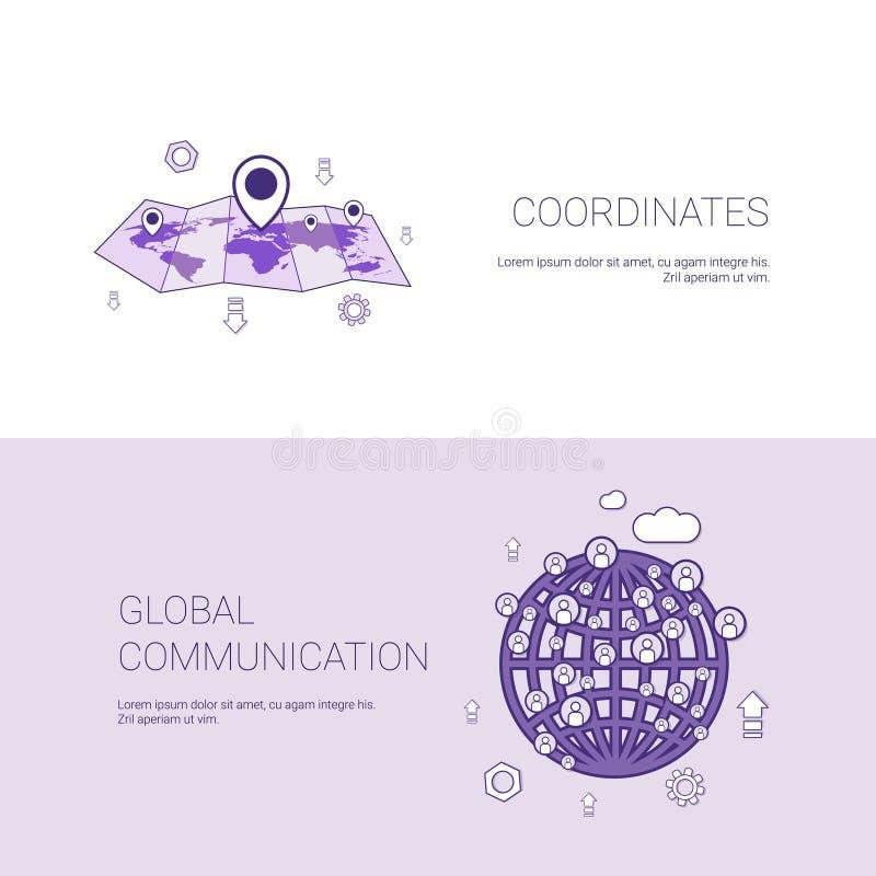 Mapa das coordenadas dos Gps e bandeira da Web do molde de uma comunicação de Gobal com espaço da cópia ilustração stock