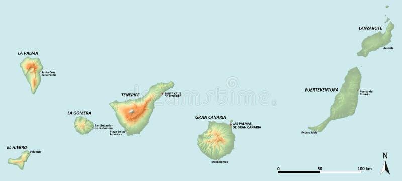 Mapa das Ilhas Canárias ilustração royalty free