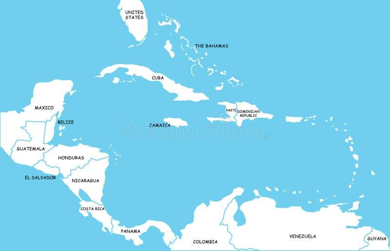Mapa das ilhas das Caraíbas ilustração royalty free