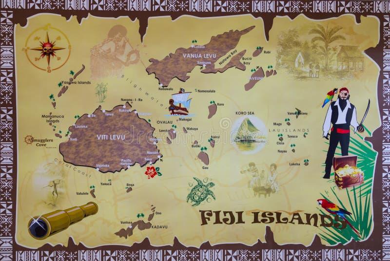 Mapa das ilhas do Fijian fotos de stock royalty free