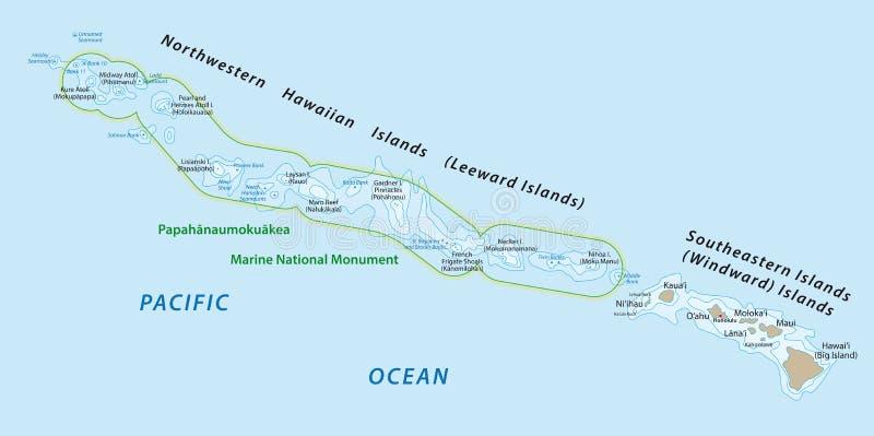 Mapa das ilhas havaianas ilustração do vetor