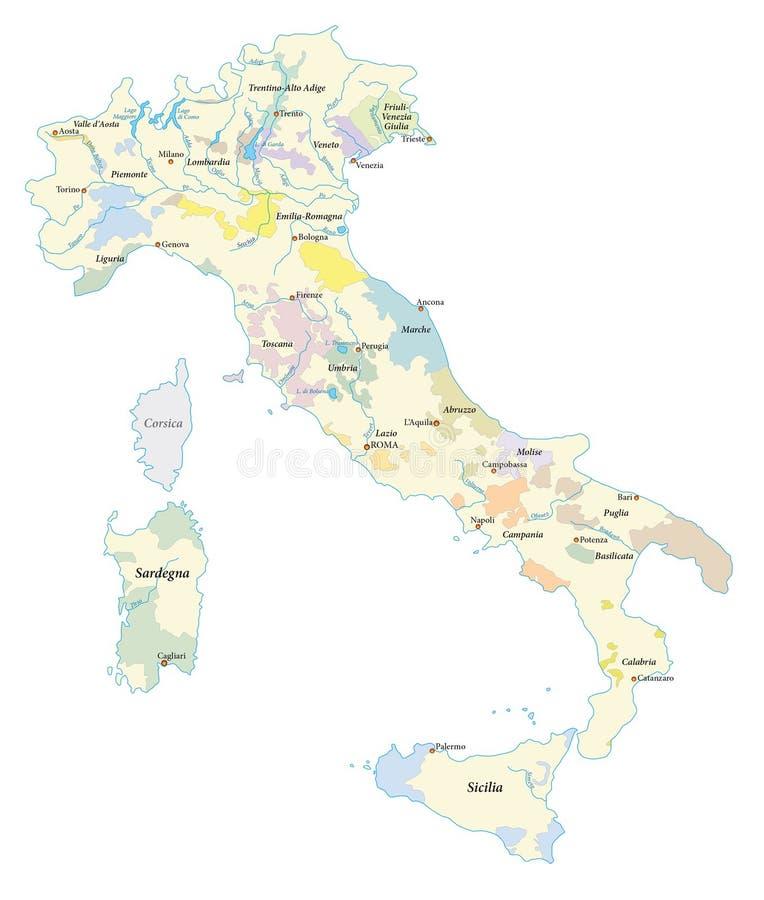 Mapa das regiões do vinho de Itália ilustração royalty free