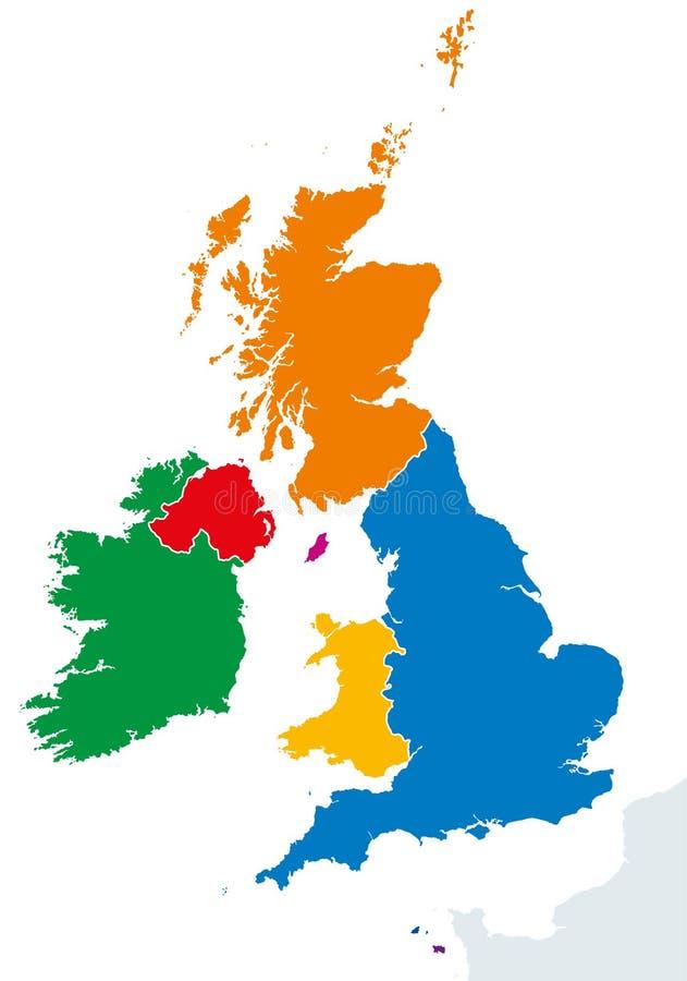 Mapa das silhuetas dos países das ilhas britânicas ilustração stock