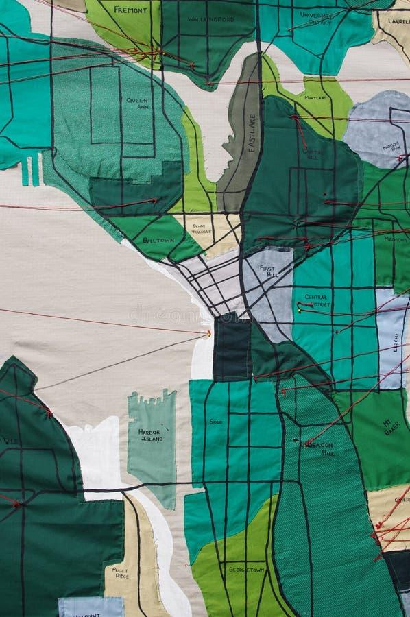 Mapa das vizinhanças de Seattle feito da tela fotografia de stock