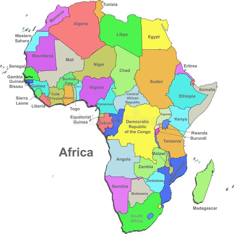 Mapa de África ilustração do vetor