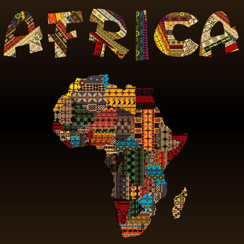 Mapa de África con la tipografía africana hecha del texto de la tela del remiendo ilustración del vector