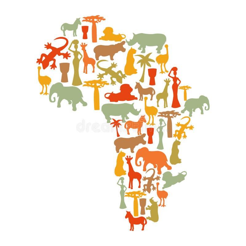 Mapa de África con los iconos stock de ilustración