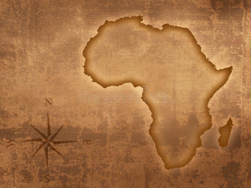 Mapa de África do estilo velho ilustração stock