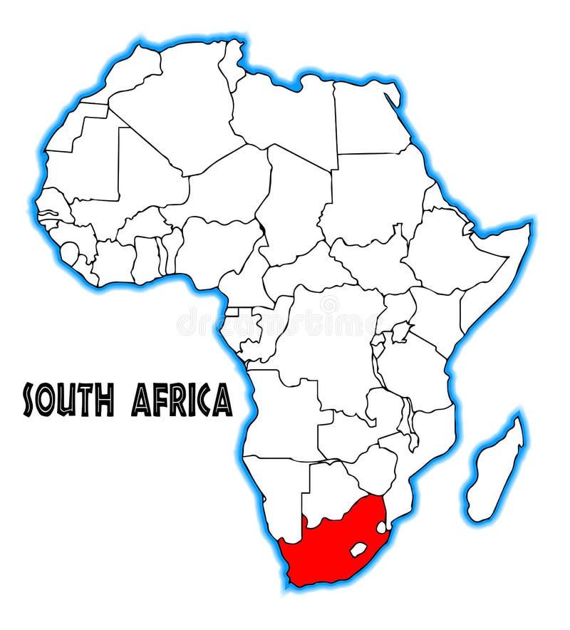 Mapa de África do Sul ilustração royalty free