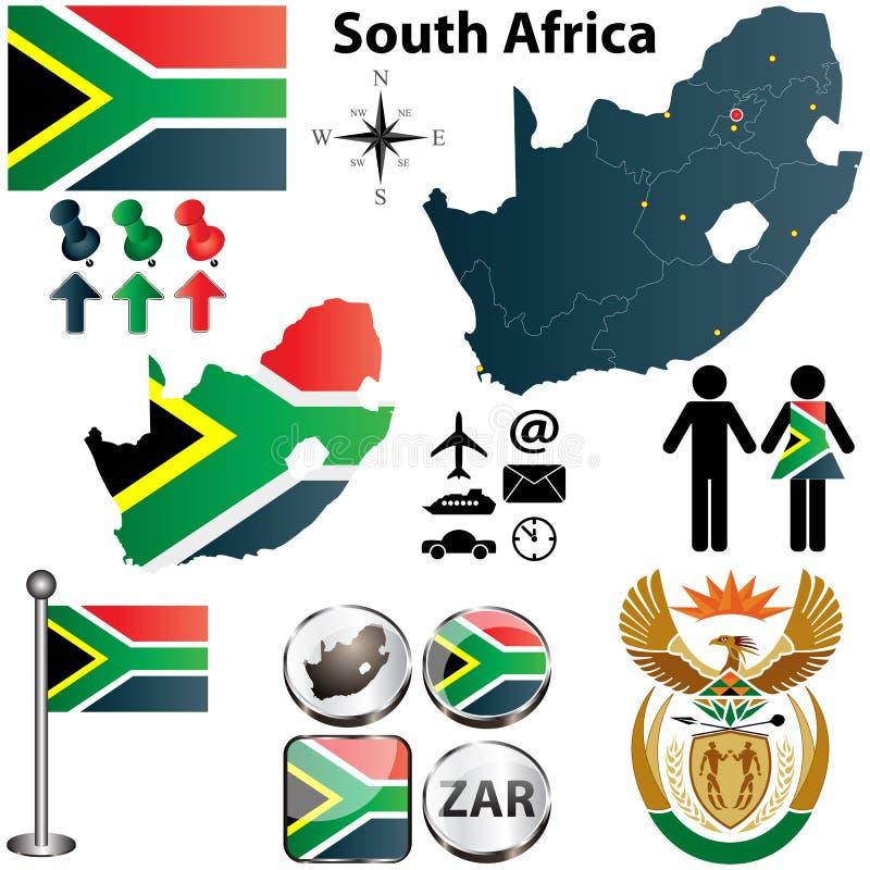 Mapa de África do Sul com regiões ilustração do vetor