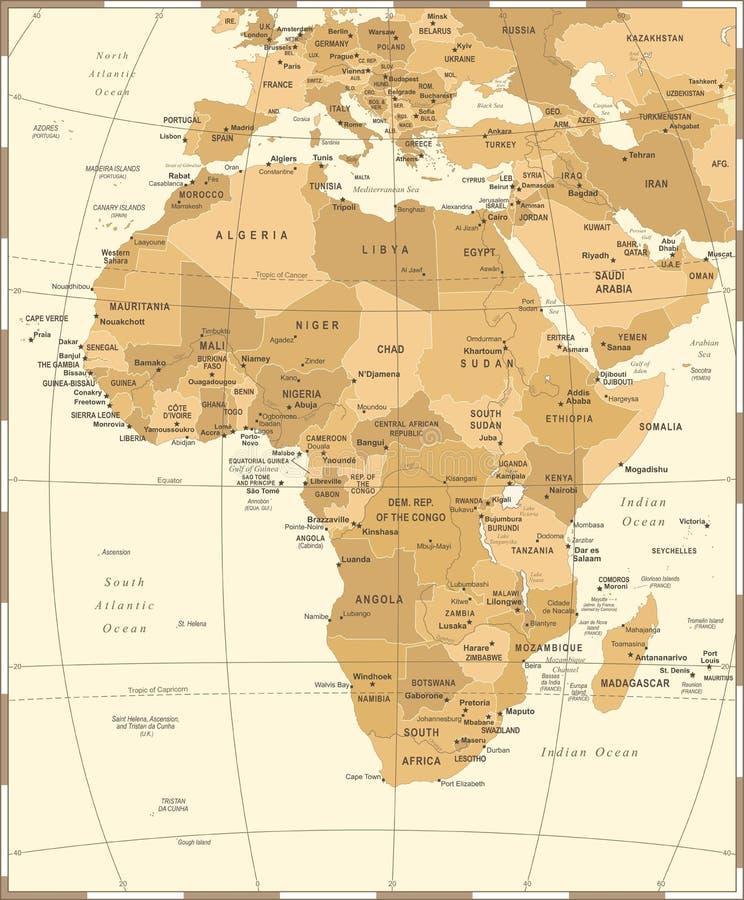 Mapa de África - ejemplo del vector del vintage