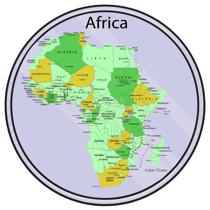 Mapa de África en la moneda. ilustración del vector