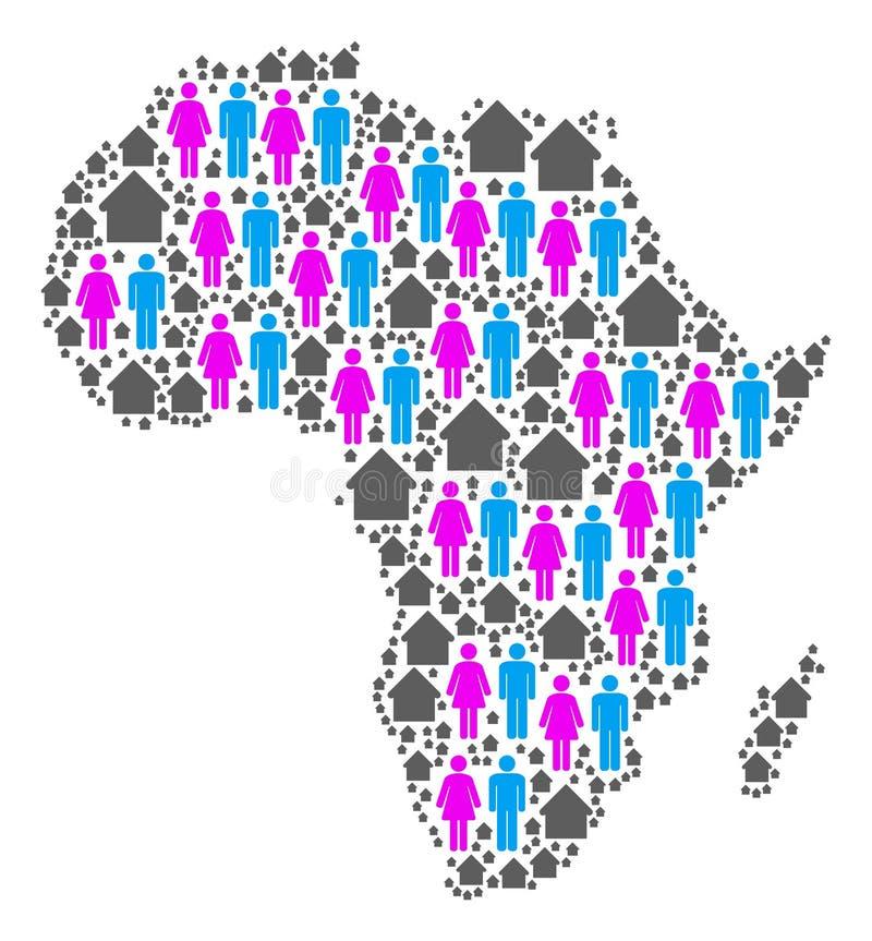 Mapa de África de la población stock de ilustración