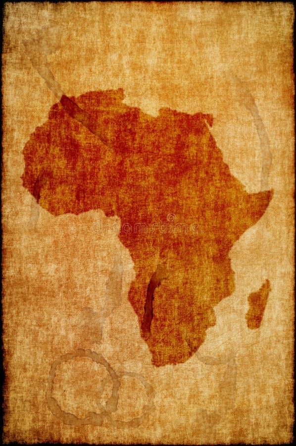 Mapa de África no papel velho fotografia de stock