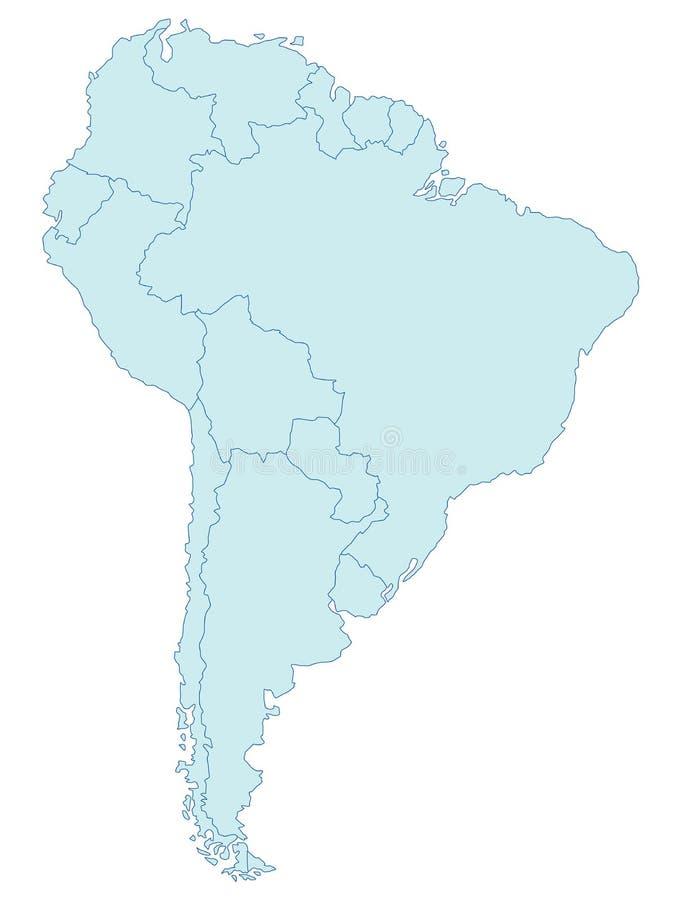 Mapa de Ámérica do Sul ilustração stock