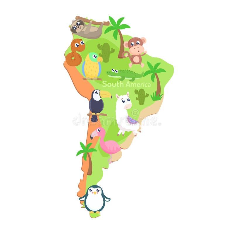 Mapa de Ámérica do Sul com os animais dos desenhos animados para crianças ilustração stock