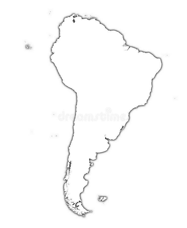 Mapa de Ámérica do Sul com sombra ilustração do vetor