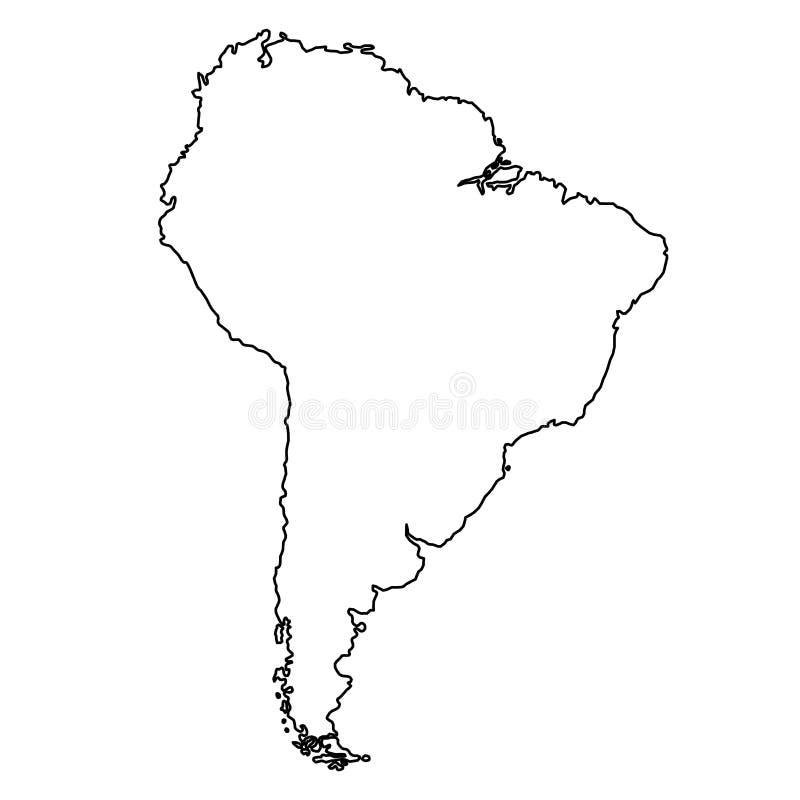 Mapa de Ámérica do Sul das linhas pretas das curvas do contorno no backg branco ilustração royalty free