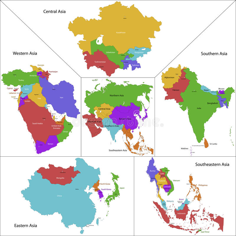 Mapa de Ásia ilustração do vetor