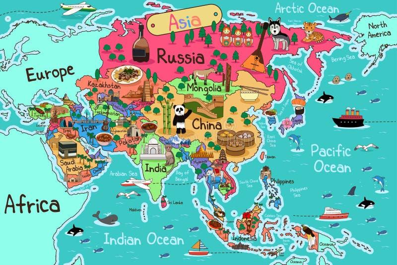 Mapa de Ásia ilustração stock
