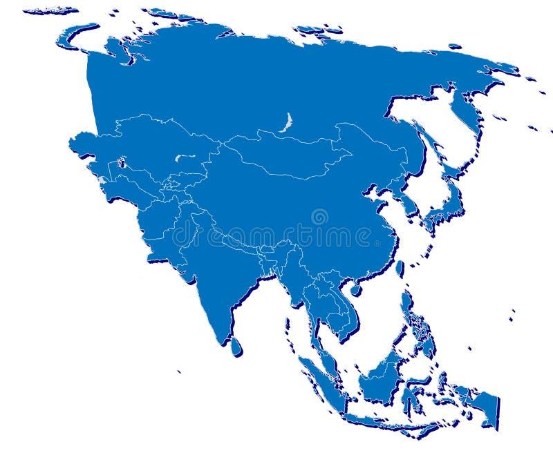 Mapa de Ásia em 3D ilustração royalty free