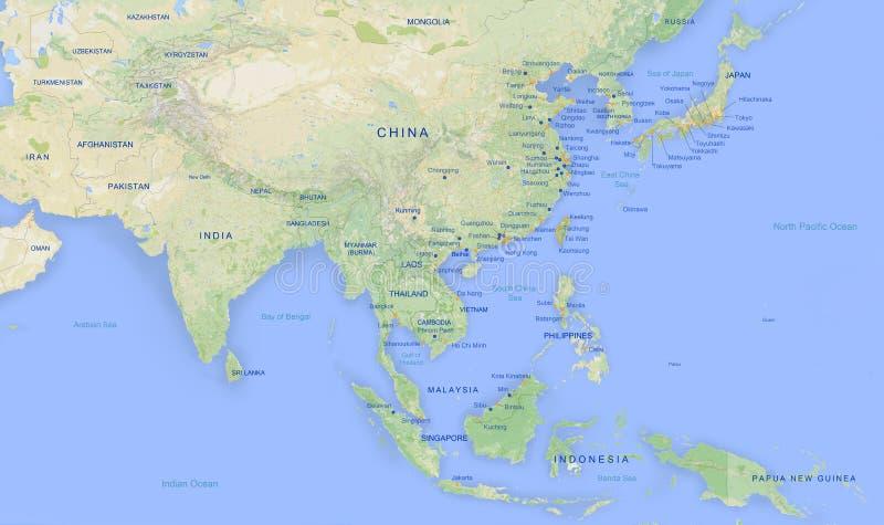 Mapa de Ásia na revolução alta 2 ilustração stock
