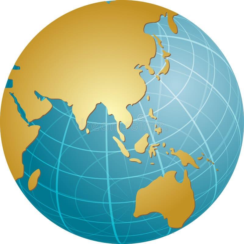 Mapa de Ásia no globo ilustração do vetor