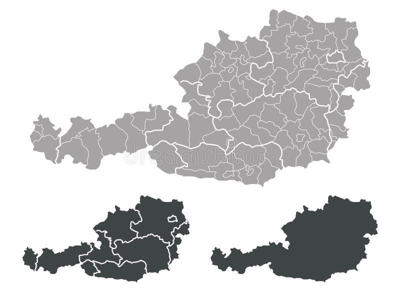 Mapa de Áustria ilustração royalty free