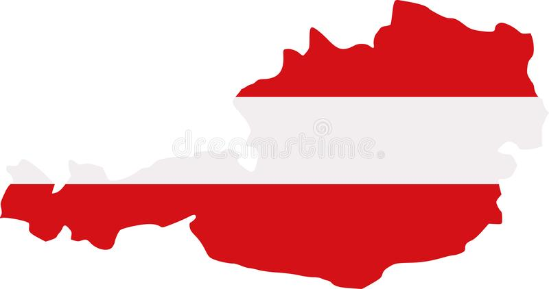 Mapa de Áustria com bandeira ilustração do vetor