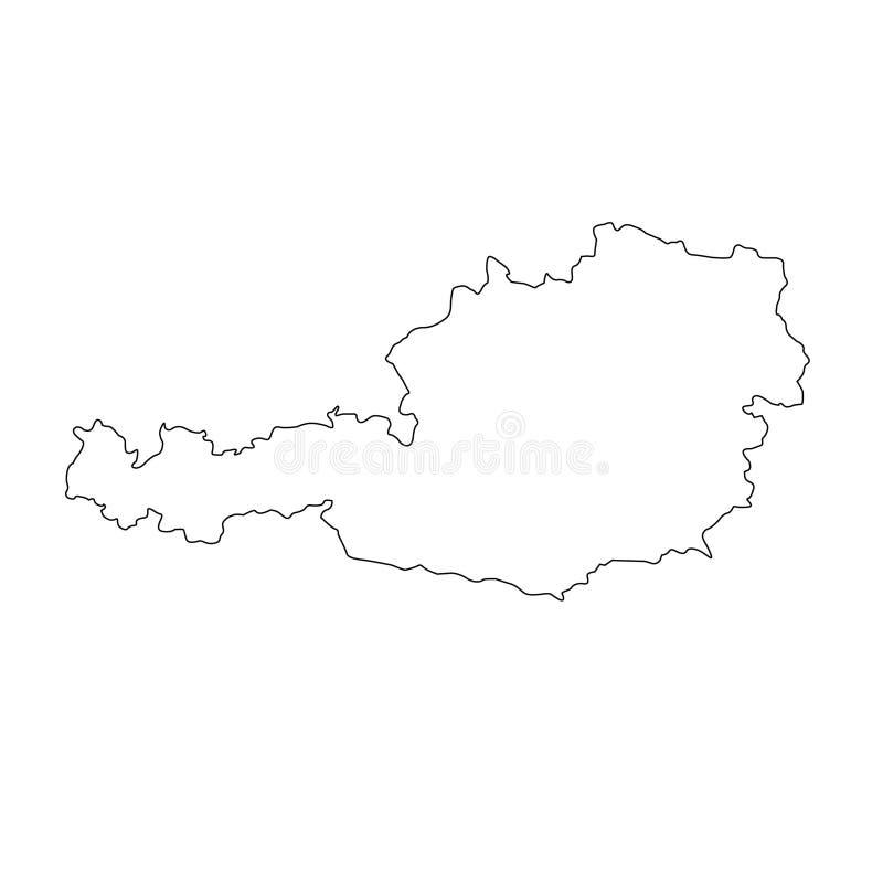 Mapa de Áustria - república federal e país na Europa Central ilustração stock