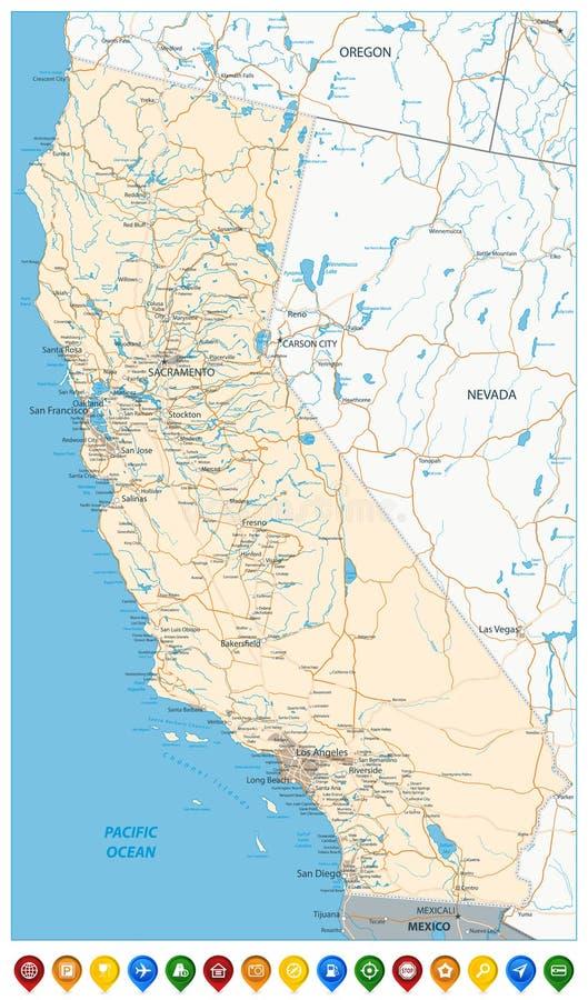 Mapa de ícones do estado de Califórnia e do mapa colorido ilustração royalty free