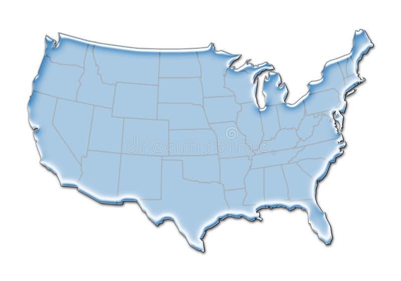 mapa de 3D E.U. ilustração do vetor