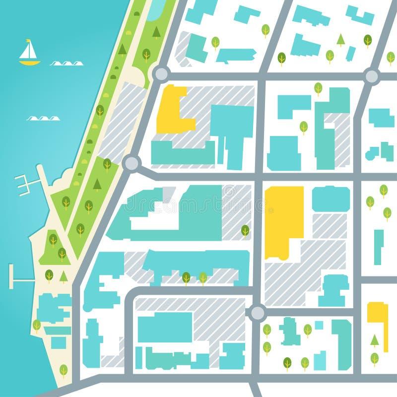 Mapa de Abstarct del área de la ciudad costera Diseño del vector libre illustration