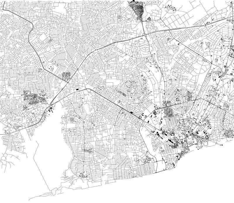 Mapa de Accra, visión por satélite, ciudad, Ghana calles África libre illustration