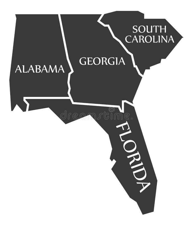 Mapa de Alabama - de Geórgia - de South Carolina - de Florida etiquetado preto ilustração do vetor