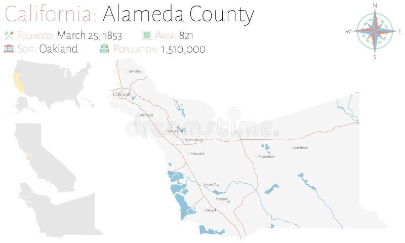Mapa de Alameda County em Califórnia ilustração royalty free