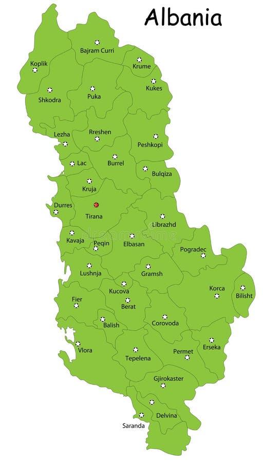 Mapa de Albânia ilustração do vetor